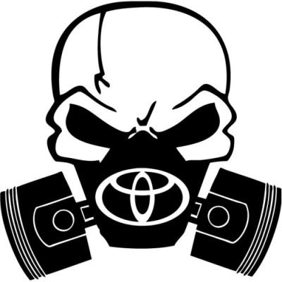 Череп с газова маска и логото на тойота
