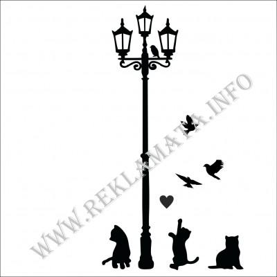 Стикер за стена Котки и уличен фенер