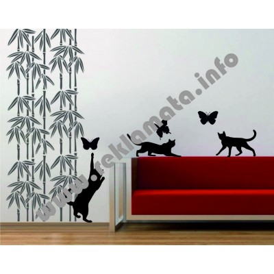 Стикер за стена котете и пеперуди