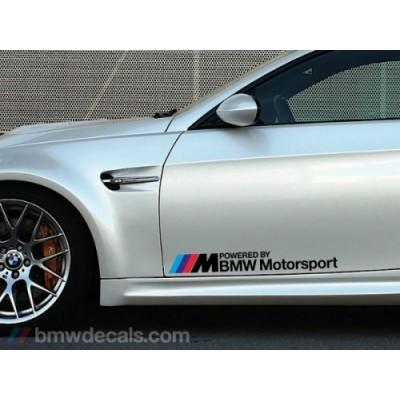 2 броя Стикери Powered BMW Motorsport тунинг стикер, за страници на автомобил, подходящ за всеки модел БМВ