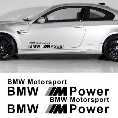 2 броя стикери BMW M POWER MOTOR SPORTS Черно и сиво