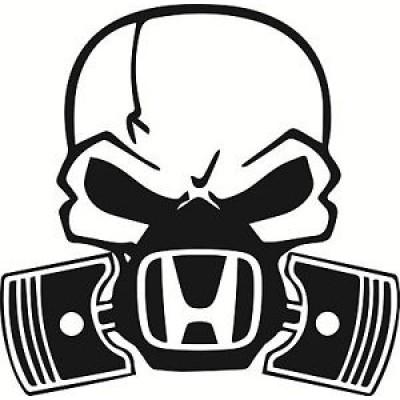 Стикер Череп с противогаз и лого на Хонда
