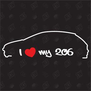 Стикер за пежо I  love my 206