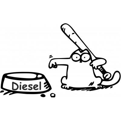 Simon котка забавен стикер за резервоара на кола  Дизел